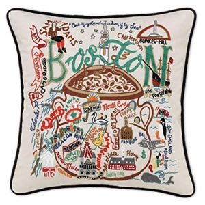 Boston Embroidered Decorative Throw Pillow